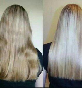 Кератиновое выпрямление, ламинирование волос