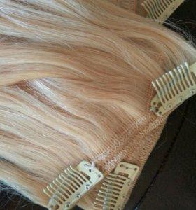 Натуральные волосы на заколках блонд 75 см