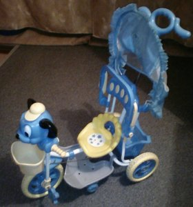 Велосипед детский 3-х-колёсный с ручкой управления