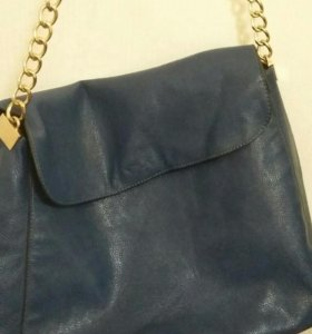 сумка коженная синяя