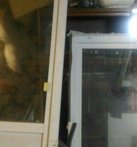 Оконный блок дверь 85/225 окно 90/155.