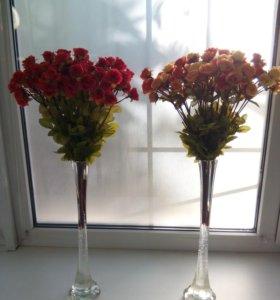 Розы искусственные.Топиарии.Букеты.