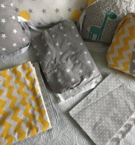 Бортики в кроватку+постельное белье