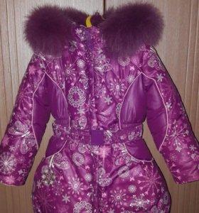 Зимнее пальто для девочки р.98