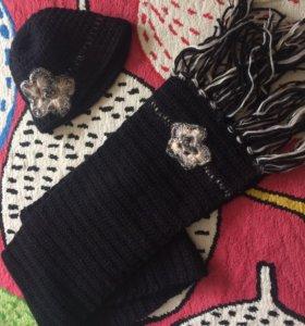 Вязаный набор шарф+ шапка