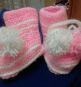 Теплые пинетки носочки
