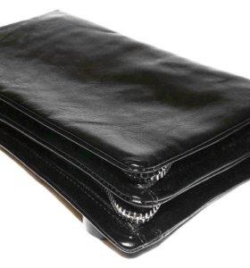 Мужской кожаный кошелек клатч Dunhill black 2Х new