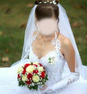 Свадебное платье размер регулируется до 50