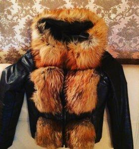 Куртка кожаная с натуральным мехом