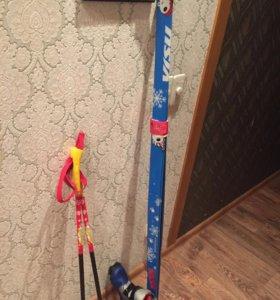 Лыжи, ботинки, (34р-р)палки, цена за все