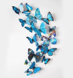 Декоративные бабочки на магнитах и с наклейками