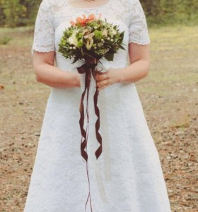 Свадебное кружевное платье силуэта А