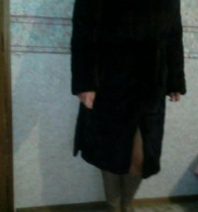 Шуба норковая с капюшоном р.46