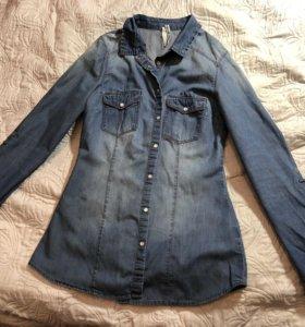 джинсовая рубашка stradivarius