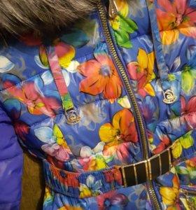 Зимнее пальто на синтепоне 42-44 , мех чернобурка