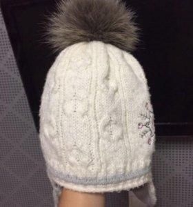 Зимняя шапка на девочку 2-4 года
