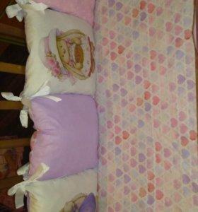 Новый комплект в кроватку Зайки