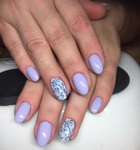 Наращивание и коррекция ногтей с дизайном.