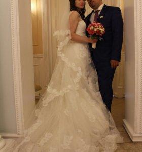 Свадебное платье из испанского кружева Chantilly