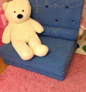 Детский диван-кровать+пуфик