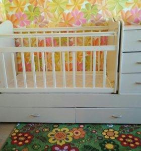 Кровать трансформер детская с приставной тумбой