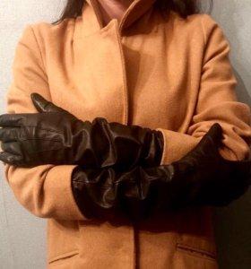 Перчатки кожаные длинные женские