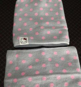Комплект шапочка + снуд на флисовой подкладке