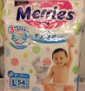 Подгузники Merries L 9-14 кг