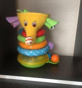 Музыкальная пирамидка с шариками Слон