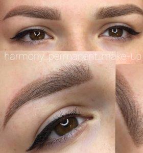 Перманентный макияж бровей, губ, глаз