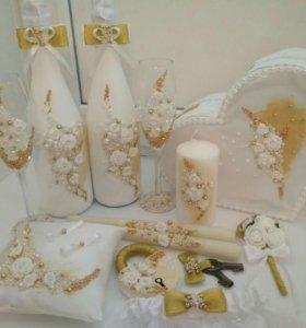 Оформление свадебных бутылок, бокалов, свечей