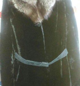 Меховое пальто Мутон+ песец