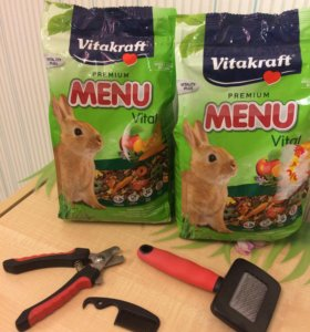 Набор для кролика-корм, кусачки,щетка, шлейка