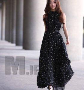 Черное в горошек платье в пол, шифон, р. 42-46