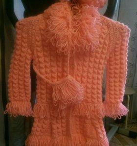 Пальто вязаное для девочки