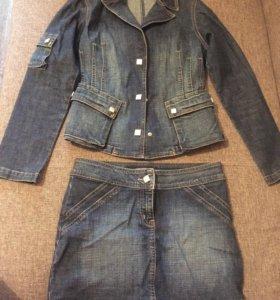 Платье и джинсовый костюм