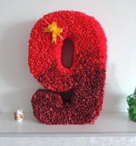 3D цифры, гигантские цветы