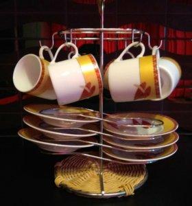 Кофейный/чайный фарфоровый сервиз с подставкой