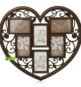 "Мультирамка на 6 фото ""Ажурное сердце"", коричнева"
