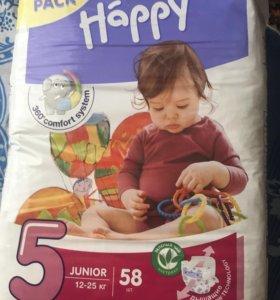 Подгузники Happy junior 5 от 12-25 кг 58 шт