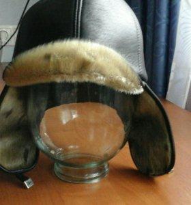 Шапка зимняя, натуральная кожа (мех нерпа)