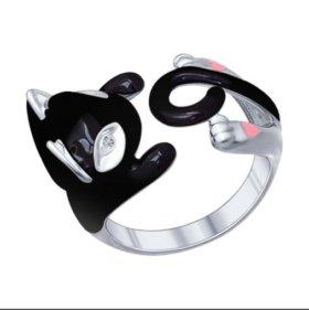 Кольцо-обнимашка. Кошка черная. SOKOLOV