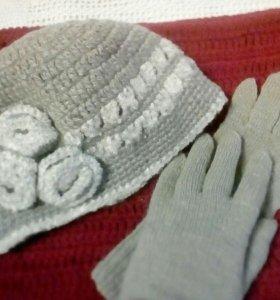 Комплект. Шапочка и длинные перчатки