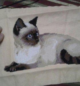 Вышивка крестиком тайская кошка