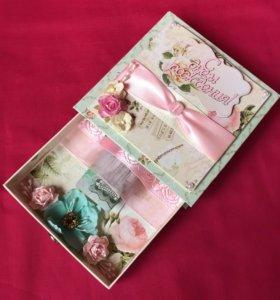 Коробочка-открытка для денег конверт подарок