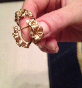 Серьги с кольцом комплект 12г. Золото