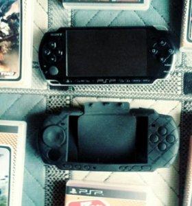 PSP, 9 игр, чехол и зарядка, карта памяти