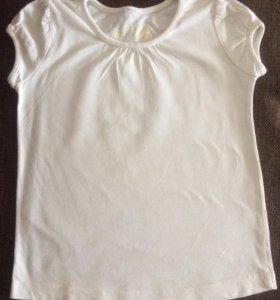 Белая футболка для девочки 5-6 лет