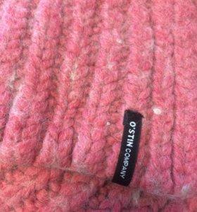 Розовый длинный шерстяной вязаный шарфик Ostin