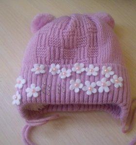шапка зимняя для новорождённой девочки